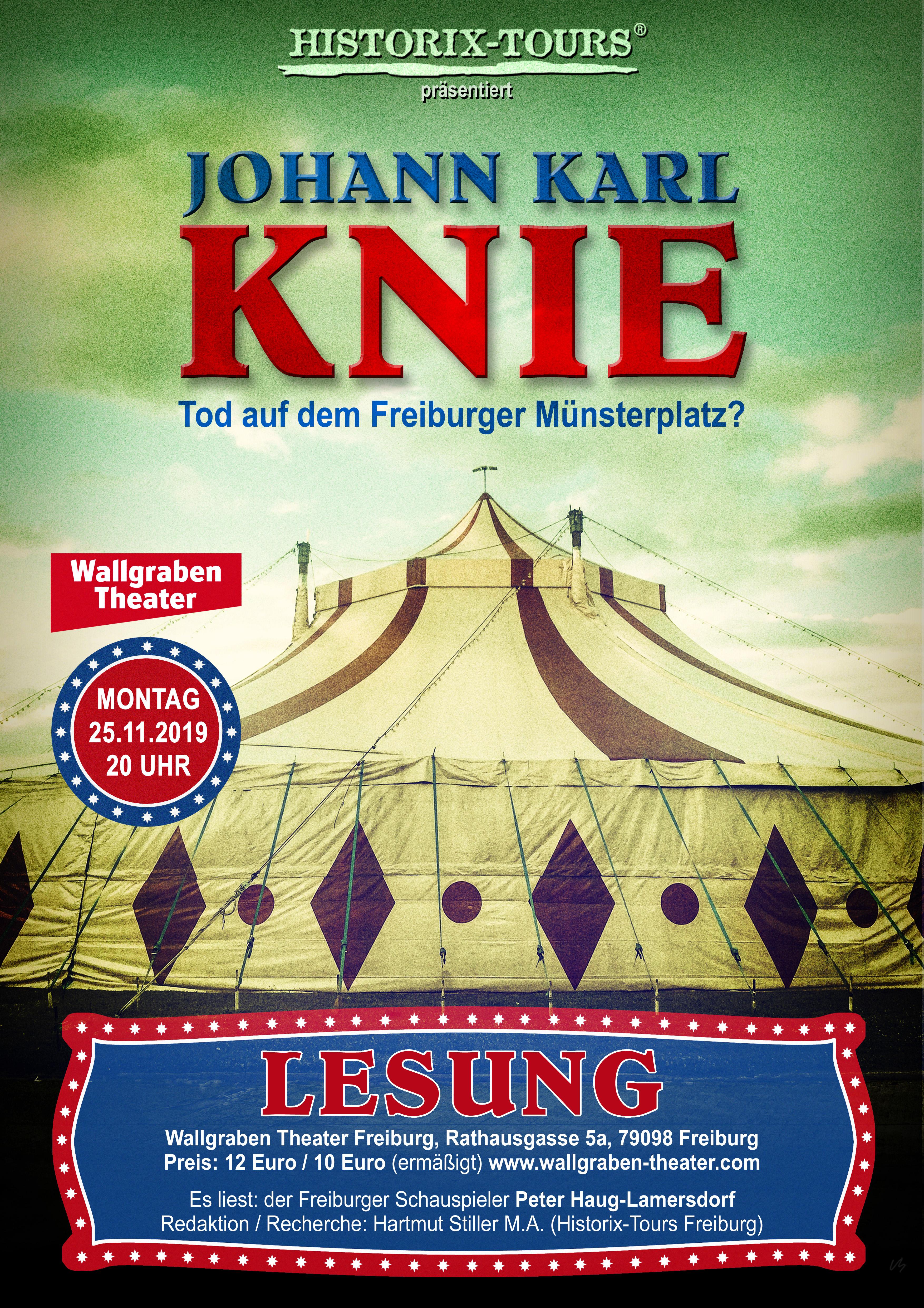 """Historische Lesung: """"Johann Karl Knie – Tod auf dem Freiburger Münsterplatz?"""" // Gastspiel am Wallgraben Theater"""