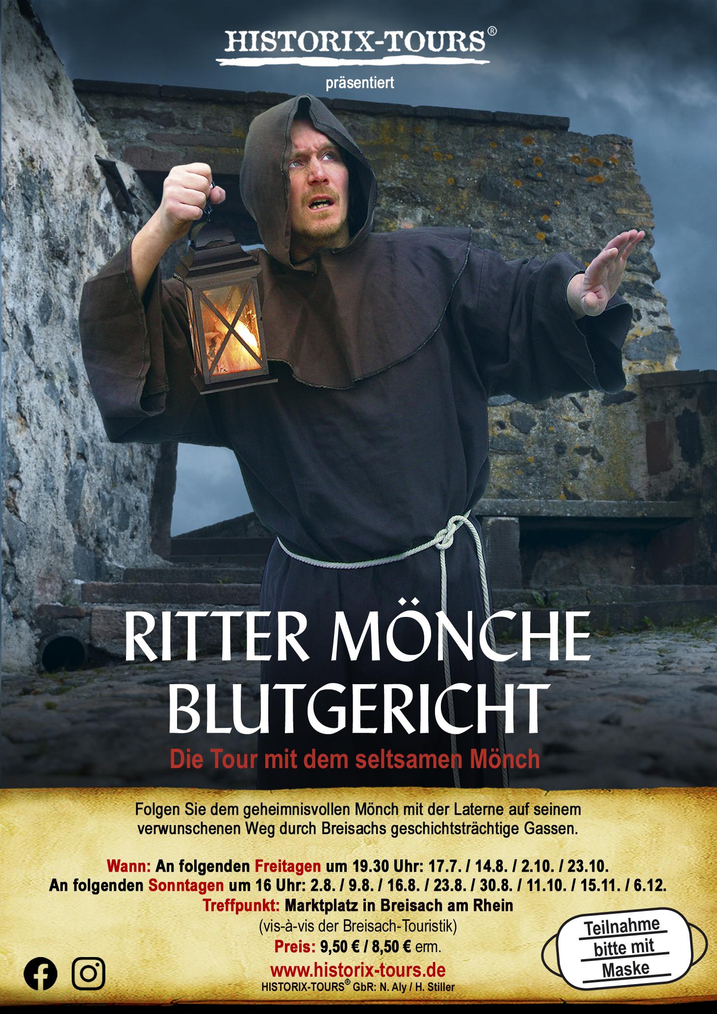 """BREISACH: """"Ritter, Mönche, Blutgericht"""" – Die Tour mit dem """"Mönch"""" (ohne Anmeldung)"""